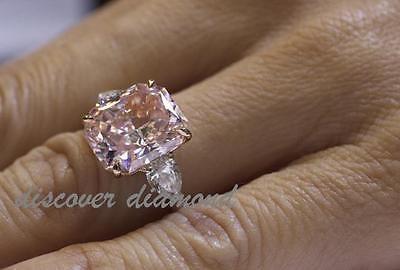 CERTIFIED 1.50CT CUSHION & PEAR DIAMOND THREESTONE ENGAGEMENT RING 14K ROSE GOLD