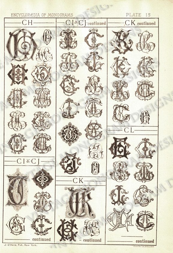 Monograms Ch Through Cl Page Scan From Vintage Monogram Book 5 00 Via Etsy Monogram Fonts Numbers Font Tattoo Fonts