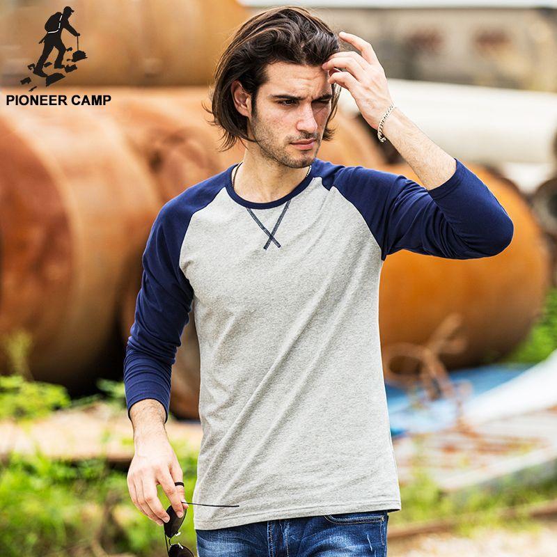 Pioneer 캠프 봄 긴 소매 t 셔츠 남성 브랜드 의류 품질 슬림 맞춤 남성 캐주얼 긴 티셔츠 긴 소매 t 셔츠 남성