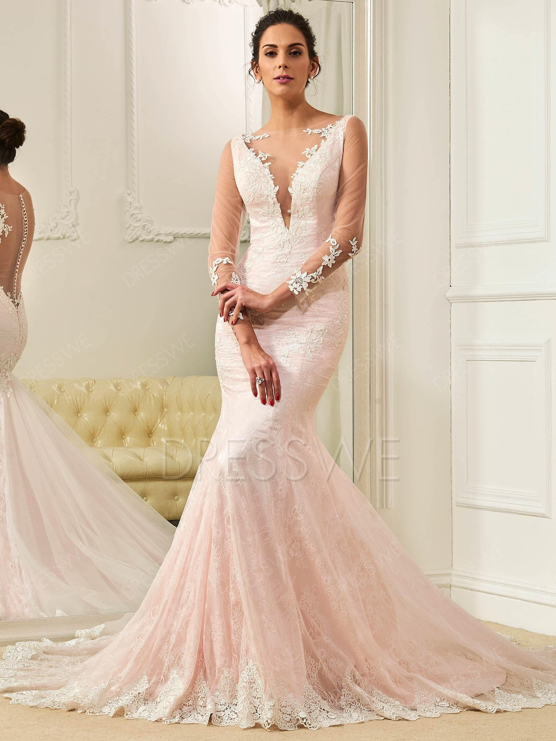 Long sleeves lace appliques button mermaid pink wedding dress lace