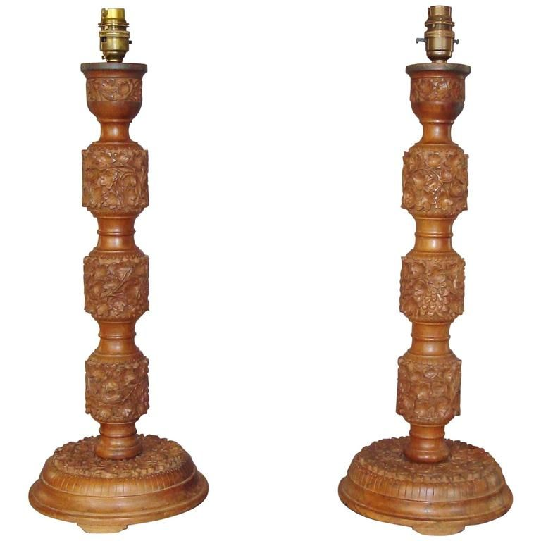 Early 20th century pair of indian carved walnut table lamps walnut early 20th century pair of indian carved walnut table lamps mozeypictures Choice Image