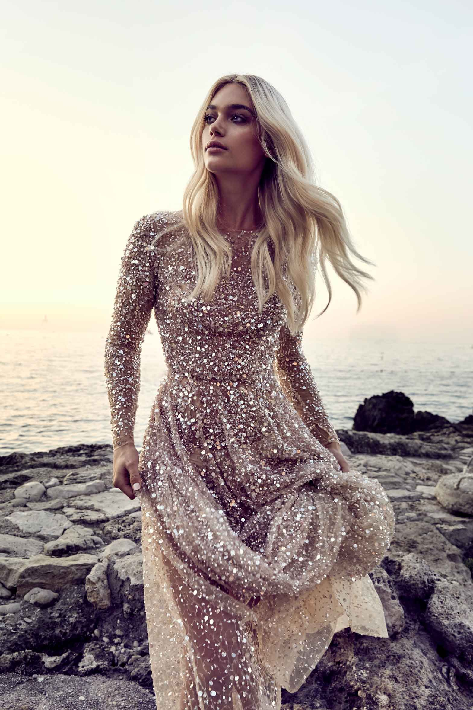 One Day Bridal Gold Sequin Gown Fancy Dresses Beautiful Dresses Pretty Dresses
