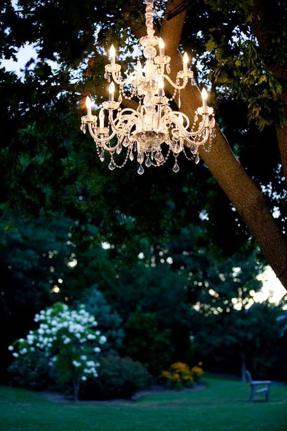 Chandeliers Outdoors Make For A Stunning Outdoor Wedding Lighting Option