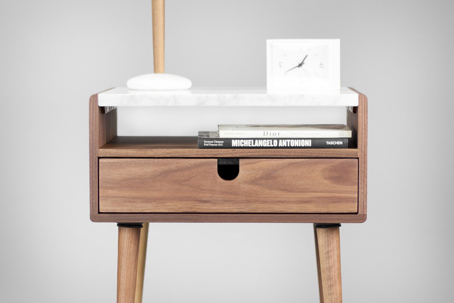 Best Mid Century Nightstand With Drawer In Walnut And Carrara 400 x 300