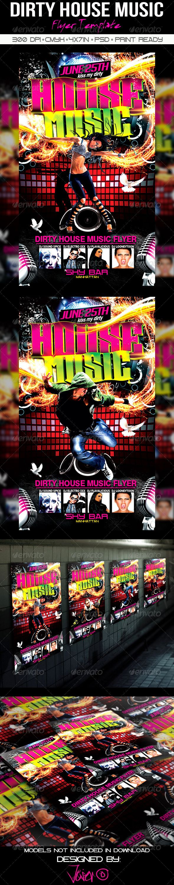 Dirty House Music Flyer Template  Music Flyer House Music And