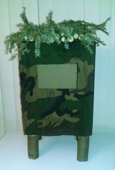 Hunting Blind Valentine Box Wrapped In Camo Fabric