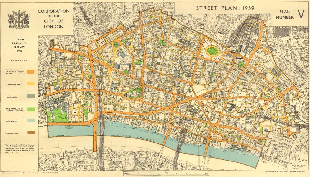 city of london town planning survey 1939 street