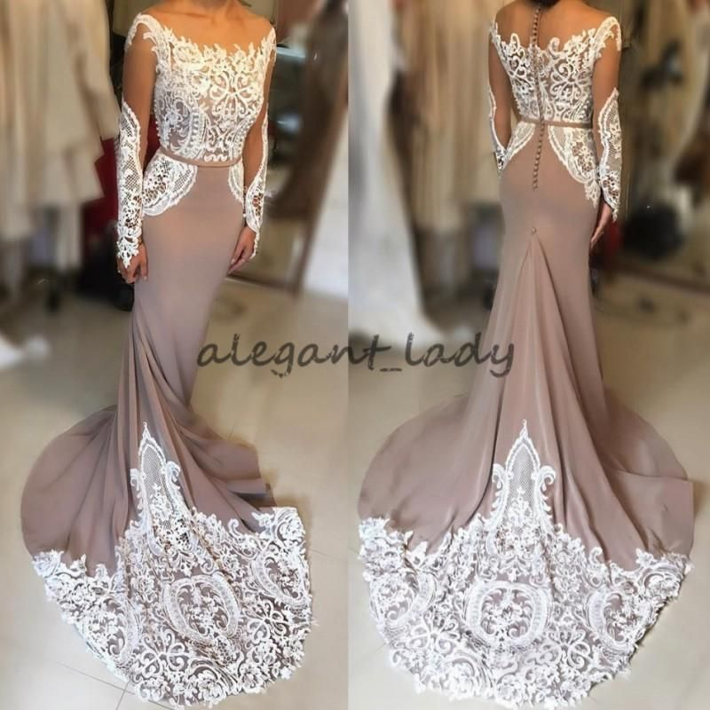 9be181d34d2ea Nude Sweep Train Long Sleeve Mermaid Evening Muslim Dresses 2018 Lace  Floral Applique Sheer Neck Fishtail Fomral Prom Dress Wear Overskirt Evening  Dress ...