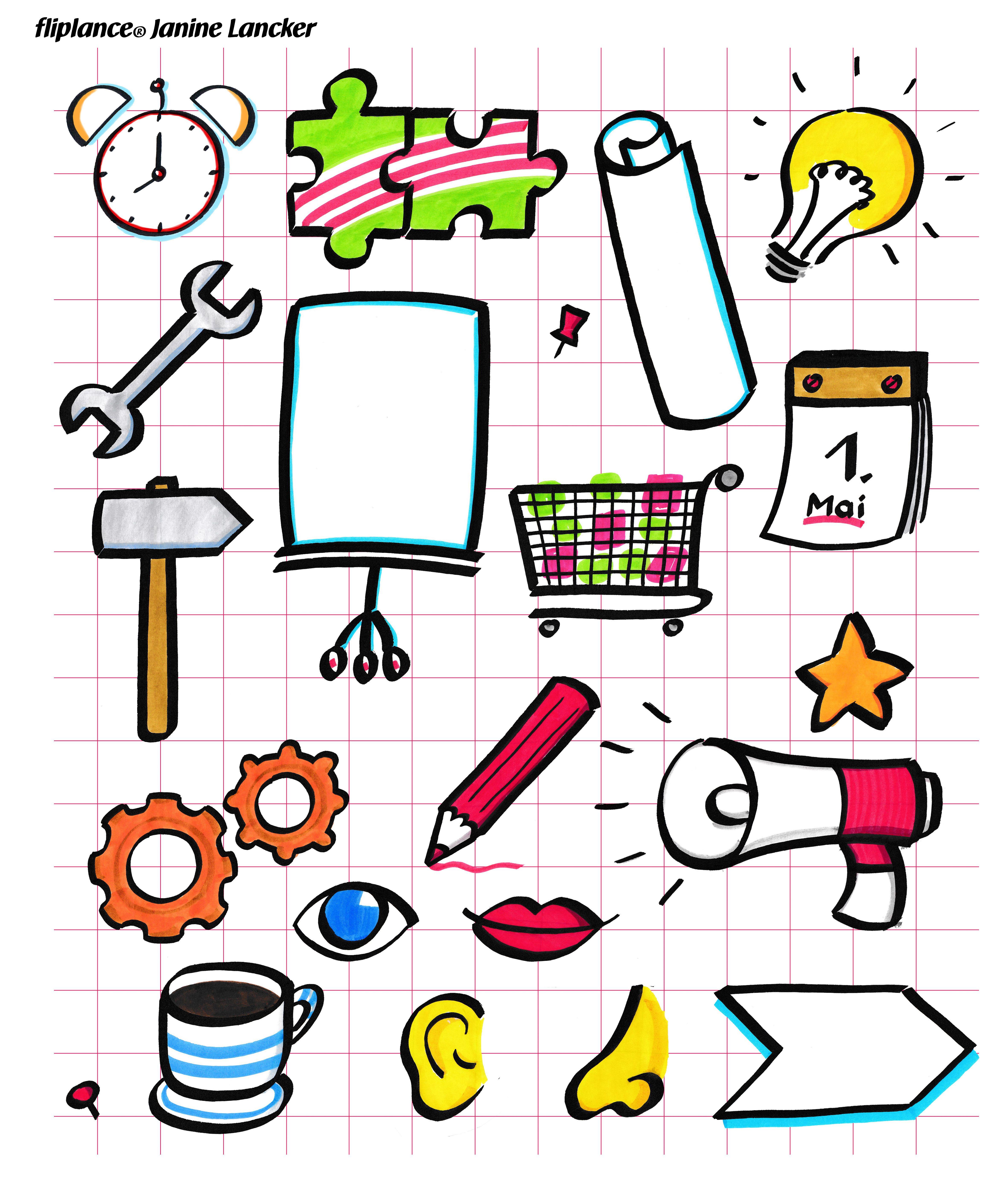 Gegenstande Am Flipchart Zeichnen Ist Ganz Einfach Im Stil Der
