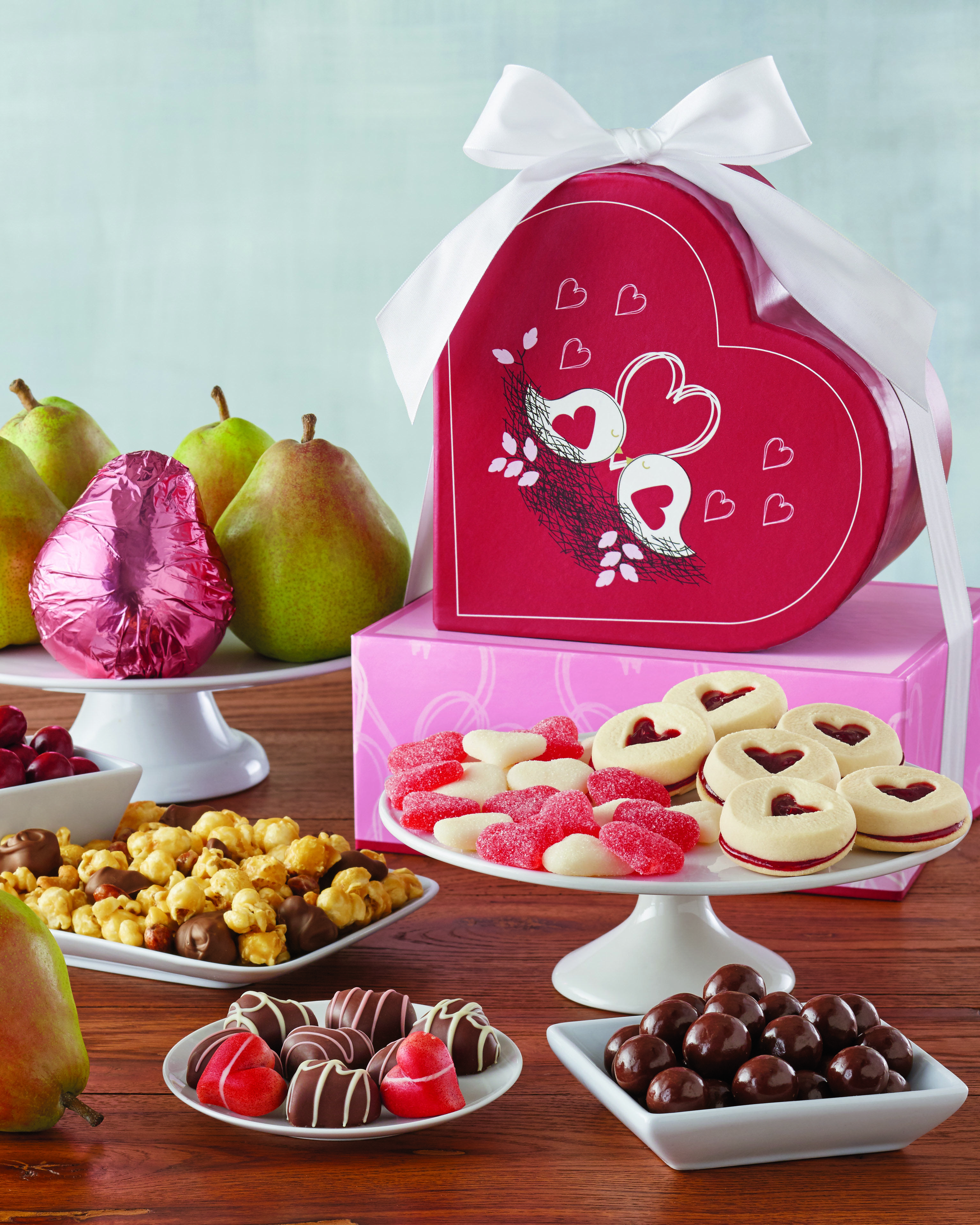 Valentine S Day Sweets All Tied Up With A Bow This Gourmet Gift Comes With Valentine S Day Shortbrea Valentine S Day Gift Baskets Gourmet Gifts Delivery Gifts