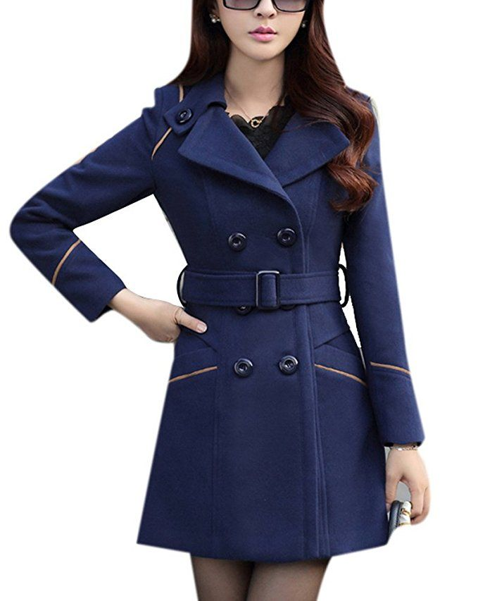 06145a4a301 Youtobin Women s New Winter Dress-Coats Slim Long Woolen Coat M Blue ...