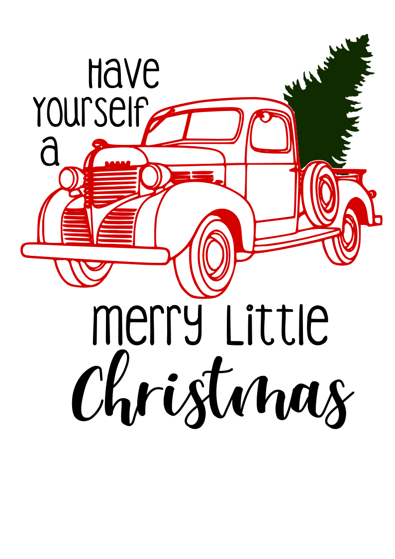 Red Truck and Tree Merry Christmas Digital SVG file