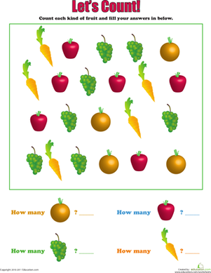 Let's Count: Fruits and Veggies | Pinterest | Number ...