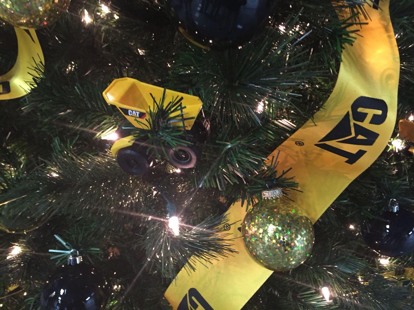 Construction Themed Christmas Tree At Caterpillar Nlr Christmas Tree Themes Christmas Ornaments Christmas Bulbs