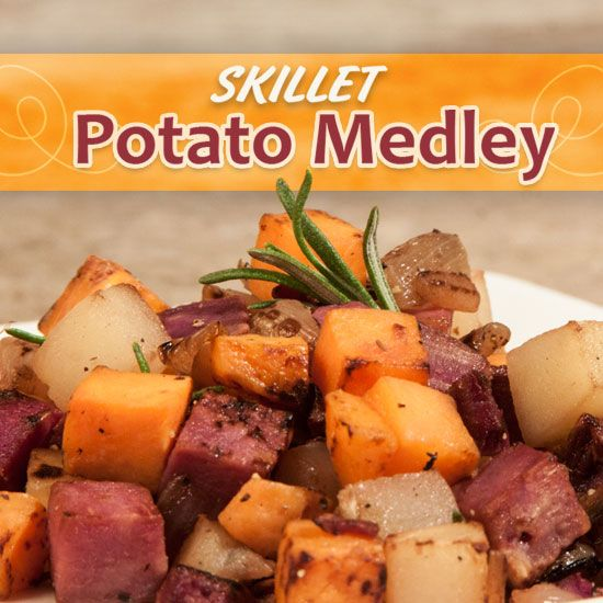 Skillet Potato Medley-- baking potatoes, sweet potatoes, purple potatoes and fresh rosemary make up this colorful side for any spring meal.