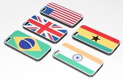 Iphone 5 cover/case Country Flag Designs - UK USA GHANA BRAZIL INDIA