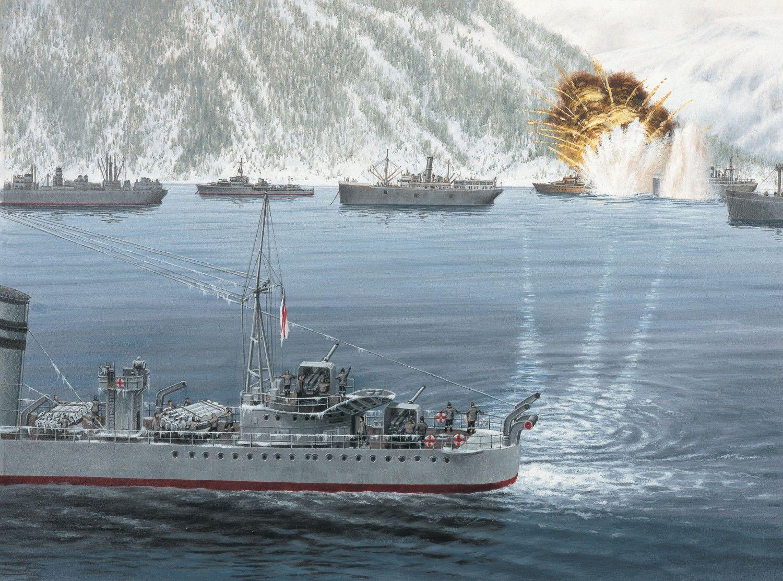 The destroyer battle in Narvik Harbour, 10 April 1940   WW2 War Art   Pinterest   Narvik