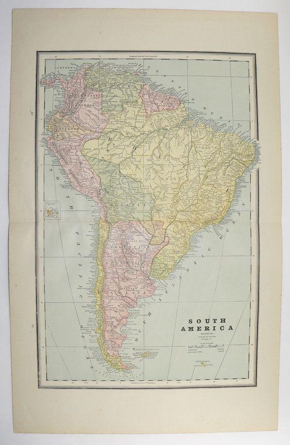 1887 South America Map Cuba Bahamas Map