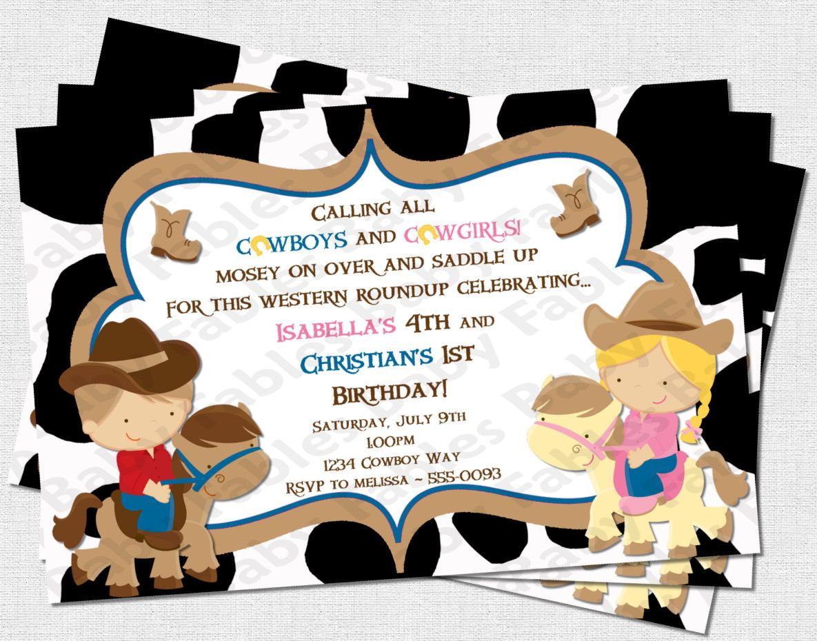 cowboys and cowgirls birthday party invitation - digital diy, Party invitations