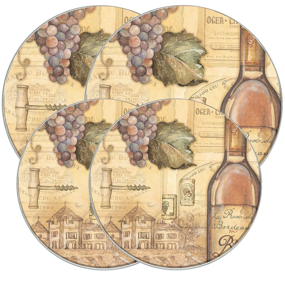 Wine and Vines Pattern Set of 4 Reston Lloyd Square Gas Stove Burner Covers