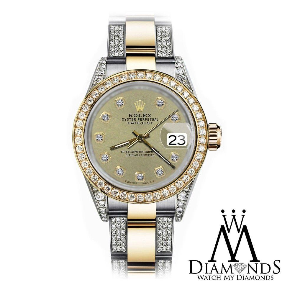 Rolex champagne mm datejust tone k gold ss side diamonds