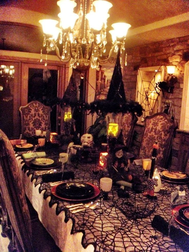love the hanging hats an table cover best indoor halloween decorations ever just amazing
