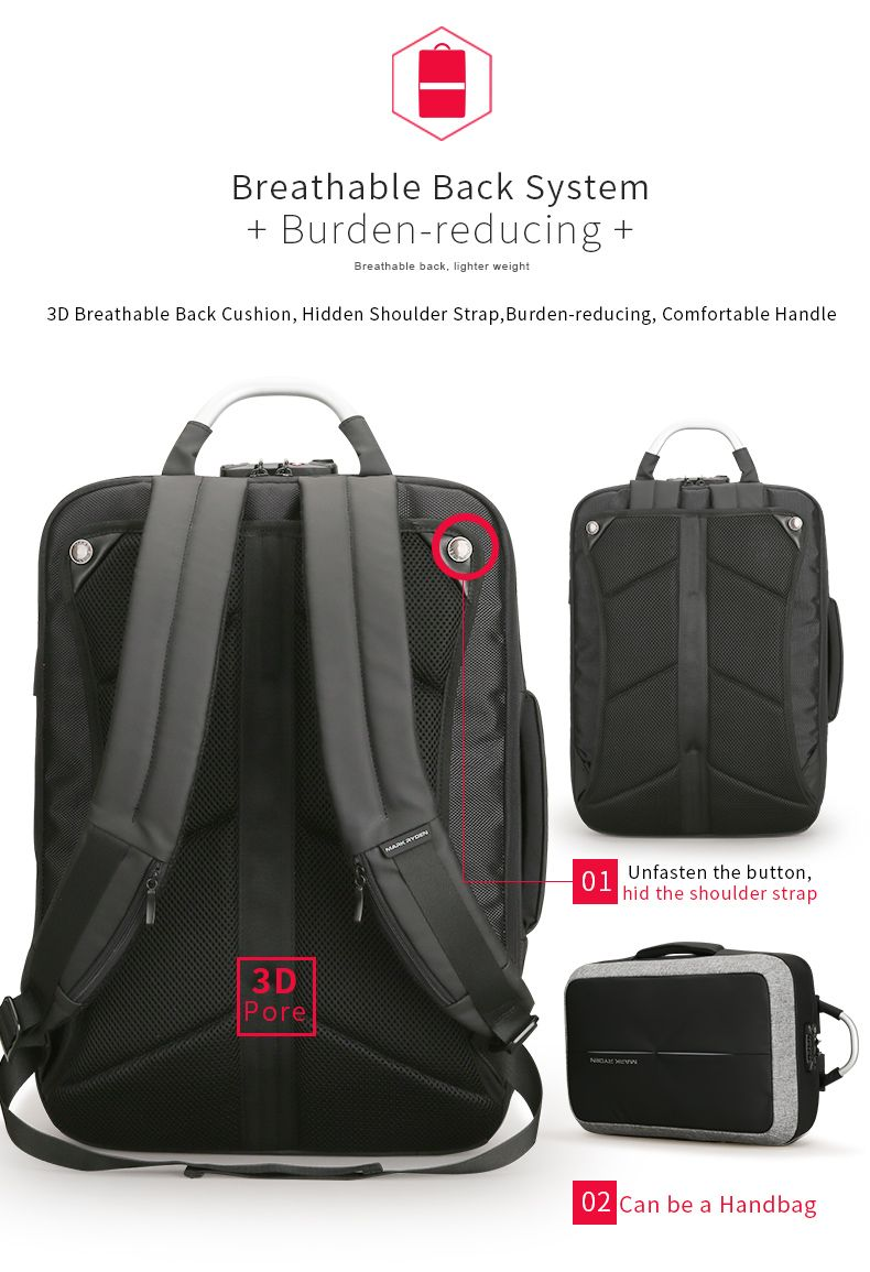 Mark Ryden Anti-thief USB Recharging Polyester Backpack Custom Lock Design