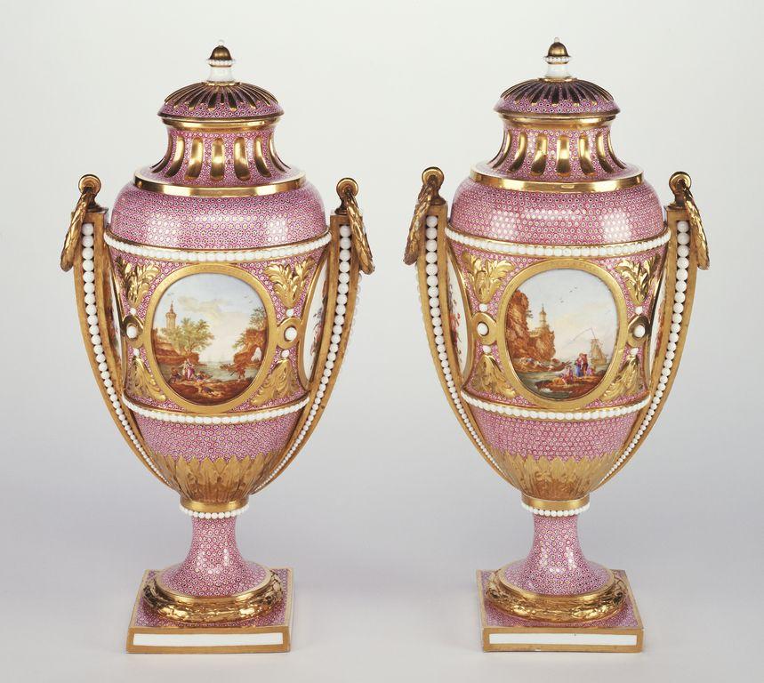 Pair of Vases (vases Bolvry à perles or vases à cartels Bolvry) -- Vincent Taillandier (French, 1736 - 1790, active 1753 - 1790), and Geneviève Taillandier (French, active 1780 - 1798), and Philippe Castel (French, about 1746 - 1797, active 1772 - 1796), et al -- n.d. -- Hard-paste porcelain, polychrome enamel decoration and gilding