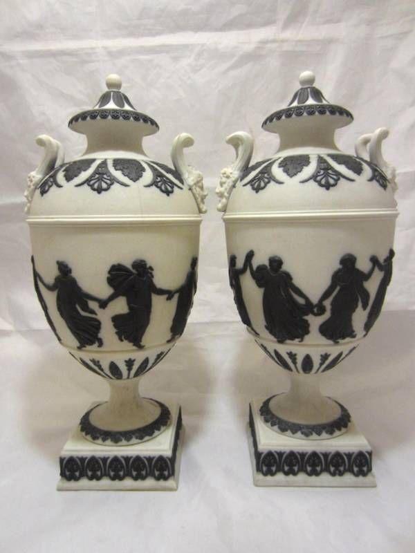 18th c PAIR antique WEDGWOOD white black Jasperware DANCING HOURS URNS Vase #Wedgwood