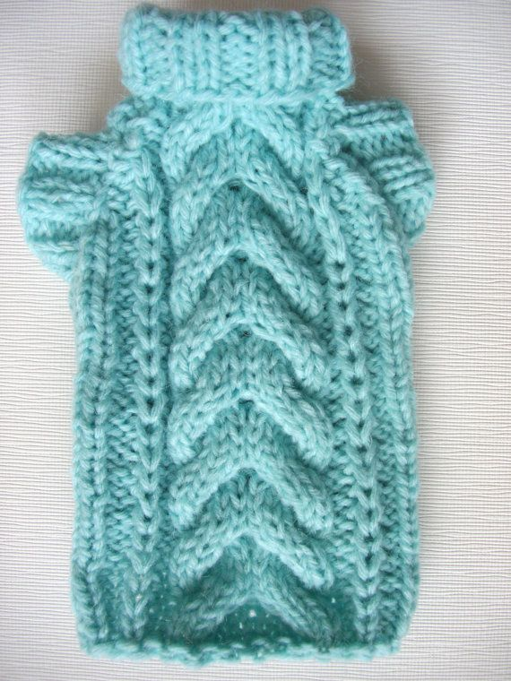 Light Blue Cable Knit Dog Sweater-Hand Knit-Chihuahua Sweater-Dog ...