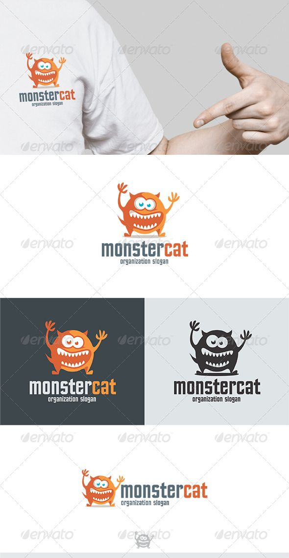 Monster Cat Logo  Logo Templates Logos And Animal Logo