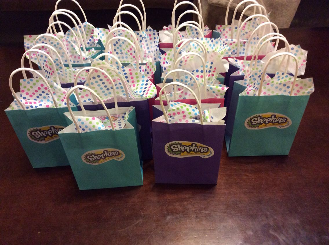 Shopkins Birthday Favor Bags With Shopkin Themed Treats