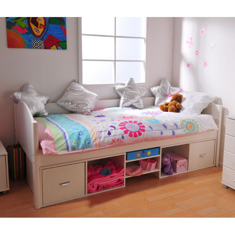 Best Modified Stompa White Single Bed For Small Rooms 400 x 300