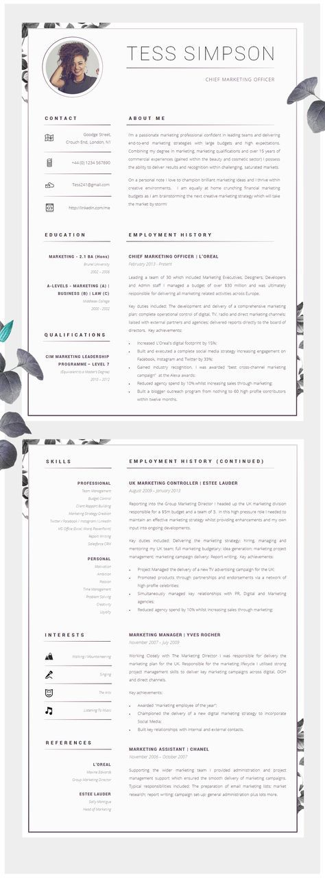 CV Template Creative Resume Template Two Page Professional CV - employment history template