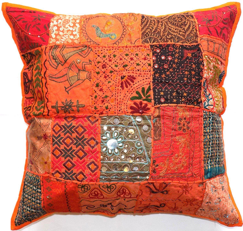 "Decorative Orange (U1517) Zip Cushion Cover 16x16"" 40x40cm"