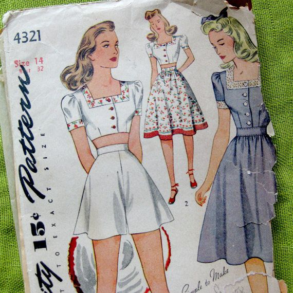 1940s Vintage Sewing Pattern - Three Piece Playsuit SHORTS Midriff ...