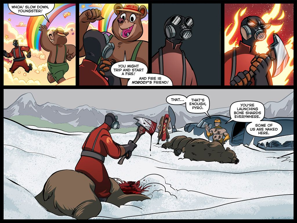 Team Fortress Comics – A Cold Day in Hell How to react to Smokey Bear