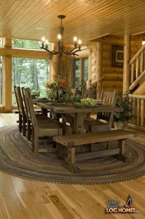 Love The Table Whole Room Is Nice Log Home Living Log Homes Home
