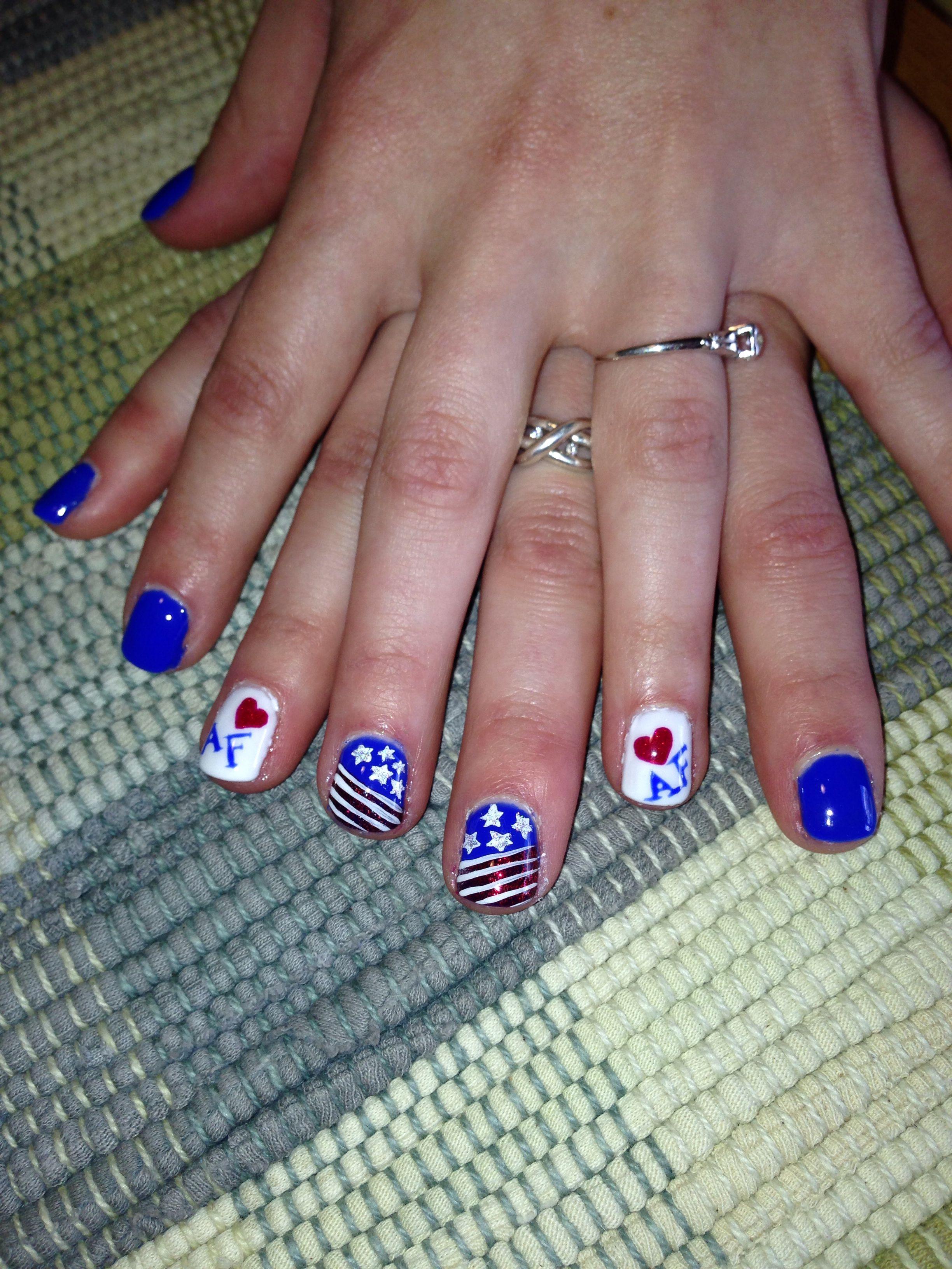 Air Force nail art, flag nails, blue nails (With images