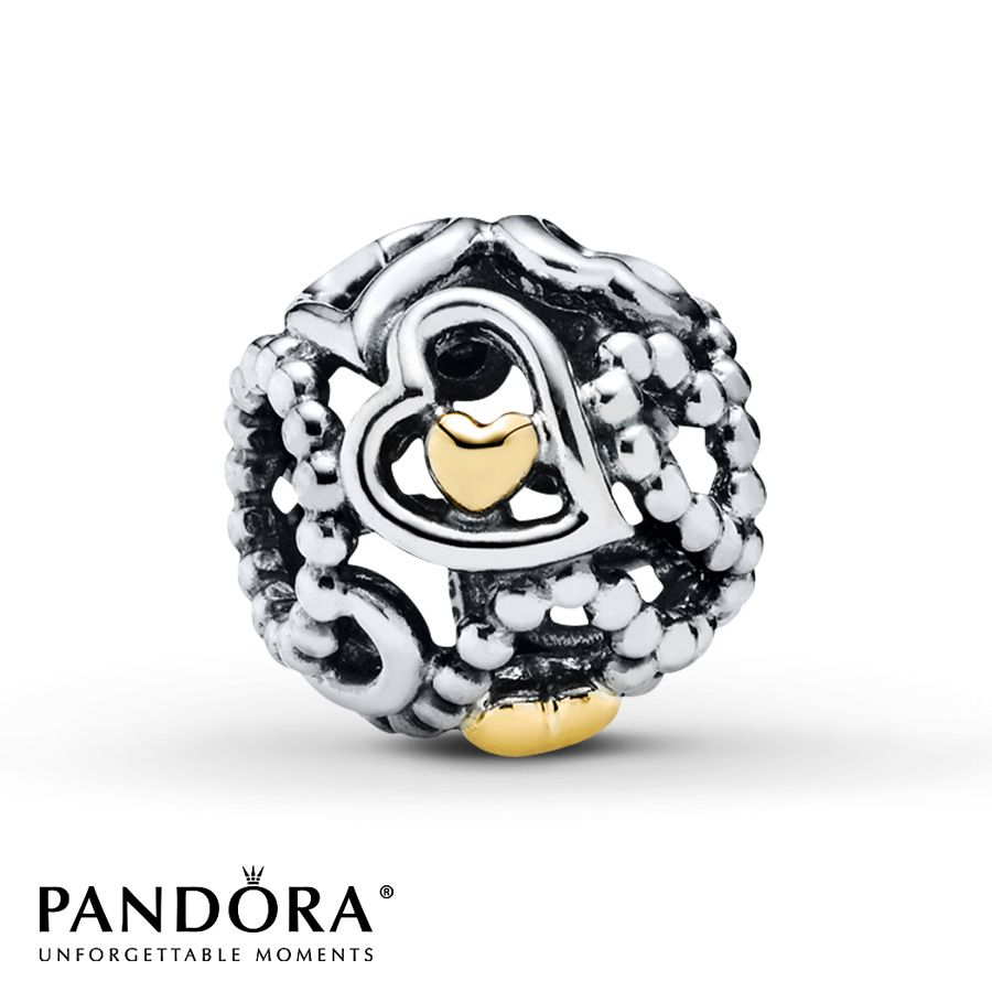 Pandora Heart Charm Spread the Love Sterling Silver14K Gold 75