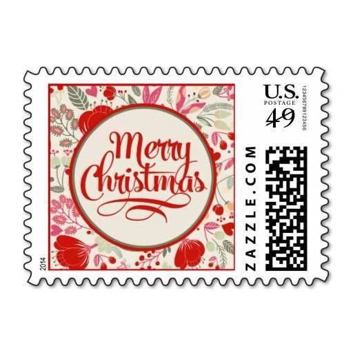 Floral Christmas Postage Stamps