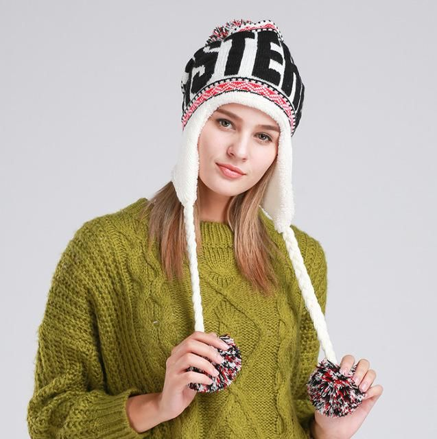 76ec879d80daf 2017 Women s Winter Knitted Hat Beanie for Girl Top Ball Hanging Ball  Earflap Hats Casual Fashion Letters Mixed Color Female Cap