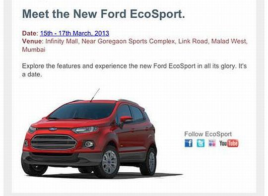 Ford Ecosport Will Be Showcased At Malls In Mumbai Delhi And Bangalore In March 2013 Ford Ecosport Ford Latest Cars