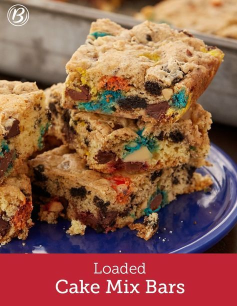 """Who says you have to make a cake with a cake mix? Not us! These creative (and super easy) bars are packed with some of our favorite goodies: OREO™ cookies, M&M's™ candies, chocolate chips and peanuts. This recipe is the perfect answer to """"what should I do with that box of cake mix in my pantry?"""""""