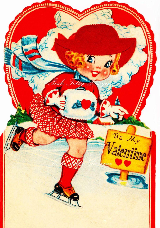 Ice skater 1920s Vintage Valentine Greetings card