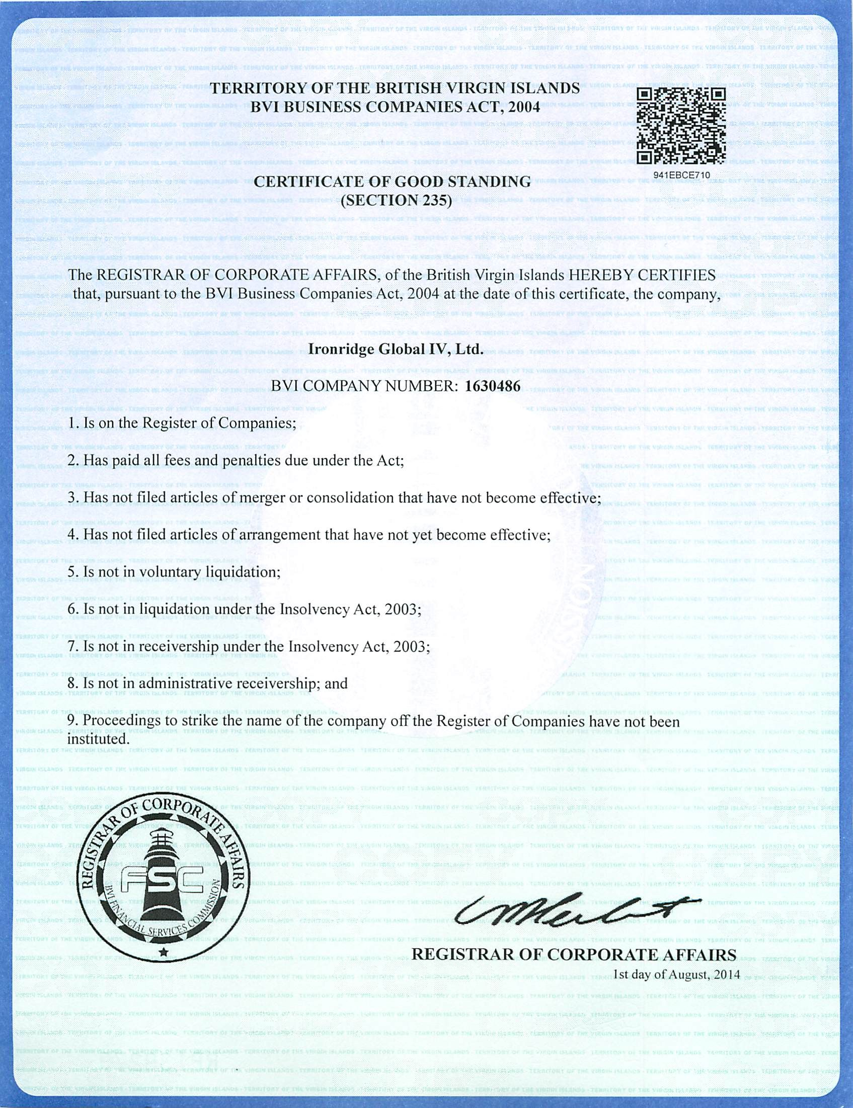 Certificate of good standing for ironridge global iv ltd from certificate of good standing for ironridge global iv ltd from the registrar of corporate 1betcityfo Image collections