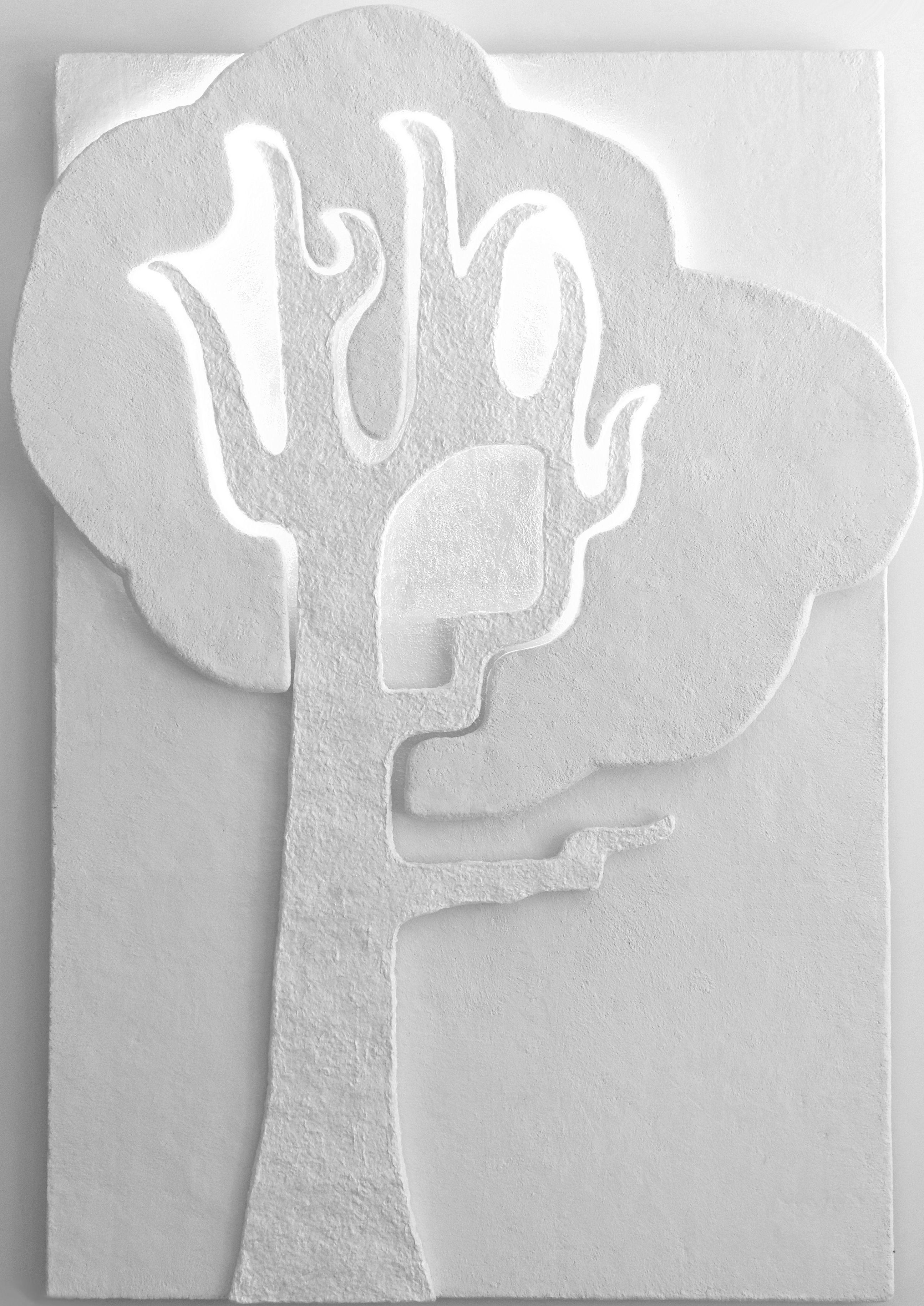 Taideakustointi Sani Miekkala - Tulipuu, akustoiva taideteos, materiaali akustiikkalevy, puuvillakuitumassa, led-valo, 120 x 180 x 6 cm, osasto 7g21 #habitare2015 #design #sisustus #akustointi #taide #akustiikkataulu #messut #helsinki #messukeskus