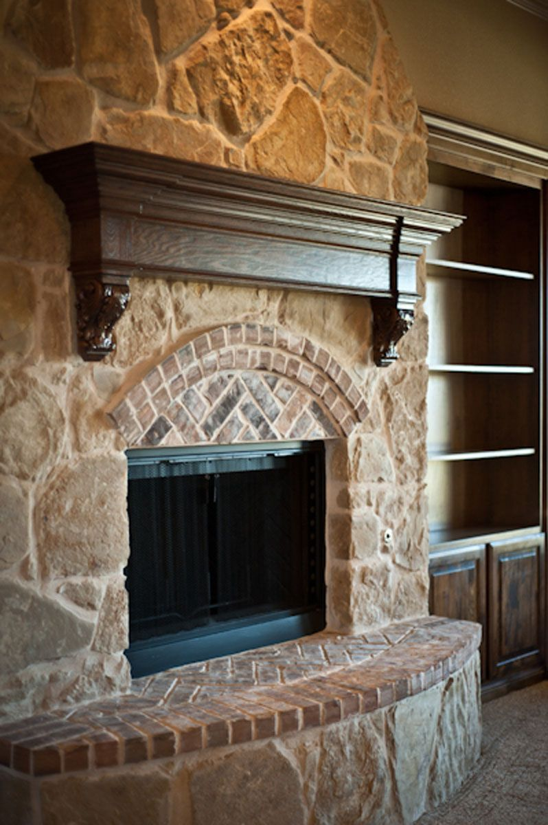 brick and stone fireplace pictures wood mantel stone brick trim rh pinterest com brick and stone combination fireplaces brick and stone fireplace cleaner