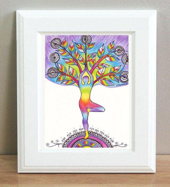 original yoga painting omwoman yoga meditate. Tree Pose Asana Yoga Silhouette Original Drawing, Poster, Rainbow Colors Spiritual Vibrant Energy Painting Omwoman Meditate T