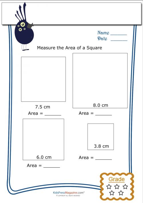 Measuring Area Worksheet Square 3 Area worksheets